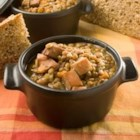 German Lentil Soup - A quick lentil soup with ham is spiced with caraway, Worcestershire and nutmeg.