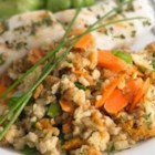 Fish Stuffing Bake - Carrots, green pepper and stuffing mix make a savory side dish to white fish fillets topped with parsley and baked until golden.