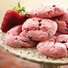 Strawberry Angel Cookies - Moist and fruity, these easy strawberry cookies are studded with mini chocolate chips.