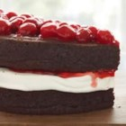 Decadent Chocolate Cherry Torte - Chocolate cake, juicy cherry filling, and whipped cream are topped with crunch almond slivers.