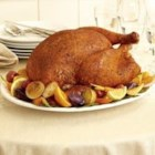 McCormick(R) Savory Herb Rub Roasted Turkey - The herb rub lends delicious savory flavor to the outside of your turkey, while basting keeps the meat juicy inside. Reserve the pan juices to make gravy or serve with the turkey.