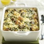 Sister Schubert's(R) Breakfast Bake - This substantial casserole of eggs, cheese, onion, spinach, sausage and Sister Schubert's Whole Wheat Yeast Dinner Rolls can be assembled the night before and baked the next morning.