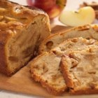 Caramel Spiced Bread - This spiced apple quick bread includes a hidden ingredient--caramels! Candy caramels are cut into small pieces and mixed right into the batter, then baked.