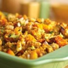 Roasted Vegetable and Cornbread Stuffing - Just one bite of this mouthwatering stuffing is all you'll need to prove that roasting the veggies is absolutely worth it...plus the veggies provide the perfect complement to the flavorful chorizo.