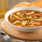 Hunts(R) Sopa de Fideo con Pollo - Richly flavored chicken and fideo soup with tomato sauce and poblano and jalapeno peppers.