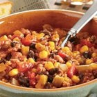 Black Bean, Corn and Turkey Chili - Browned ground turkey, beans, and corn simmer together in this chili - ready in under an hour!