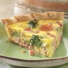 Ham and Broccoli Quiche - Smoked turkey can be used in place of the ham in this traditional quiche recipe.