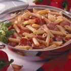 Spicy Sausage Pasta Alfredo - Creamy prepared Alfredo sauce teams up with Italian-seasoned sausage, mushrooms, and penne pasta for a one-dish easy meal that will please your family.