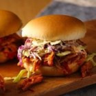 Pulled Chicken Sandwiches - Join the food truck craze, and enjoy these tangy, juicy chicken sandwiches made easily at home.