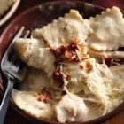 Basil Chicken Ravioli Carbonara - Make this one-dish Italian-style skillet dinner--ready in 20 minutes--using Progresso™ Recipe Starters™ creamy Parmesan basil cooking sauce.