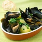 Mussel and Potato Stew - Broccoli rabe is delicious, and here is a great way to use it.  In this recipe broccoli rabe is combined with anchovy fillets, yellow potatoes, garlic, and mussels for a lovely Mediterranean-style stew.