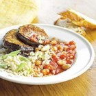 Beans with Eggplant and Rice - For a quick and filling main-dish recipe, try this saucy combination of brown rice, eggplant, and navy beans.