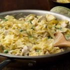 Easy Turkey and Noodles Skillet - Gotta love one-pan cooking! All the ingredients, including the noodles, cook in the same skillet to create creamy, 'noodley' turkey goodness!