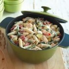 Creamy PHILADELPHIA(R) Pasta Primavera - Penne pasta is combined with boneless chicken breast, red bell pepper, fresh asparagus, and zucchini in a cream sauce.