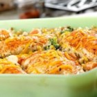Chicken, Seasoned Rice and Vegetable Casserole - It takes just 5 minutes to put this casserole together . . . then just pop it in the oven, and soon you'll have a fantastic chicken, rice and veggie dish with lots of melted cheese.