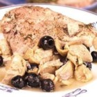 Artichoke and Black Olive Baked Chicken - Chicken breasts and drumsticks baked with artichoke hearts and black olives in white wine and chicken broth; a light seasoning of tarragon, salt and pepper provides a perfect finish to this savory Mediterranean-inspired dish.