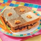 Goldfish Checkerboard Sandwich - Make a checkerboard pattern of PB&J sandwiches by using both whole wheat and white breads--fun for kids of all ages!