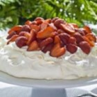 Strawberry Pavlova - This beautiful dessert, a favourite recipe of Teeswater egg farmers Peter and Adriana Van Zeeland, is perfect for any occasion.