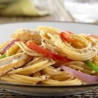 Spaghetti with Chicken Breast, Bell Peppers and Romano Cheese - This delicious protein-packed pasta dish uses PLUS pasta for additional boosts of fiber and ALA-Omega 3.
