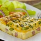 Impossibly Easy Ham and Asparagus Pie - Bainsville egg farmers Luc and Louise Secours enjoy this quiche-like 'pie' fresh out of the oven or warmed in the microwave the next day.
