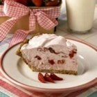 Strawberries and Cream Pie - This sweet and creamy strawberry pie calls for frozen berries, so it can be prepared any time of year.