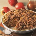 Caramel Cream Apple Crunch Pie - Filled with creamy caramel apples and sprinkled with an almond and gingersnap crumb topping, this is a rich, decadent twist on apple pie.