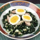 Healthier Chicken a la King - Spinach, egg and chicken simmered in a milky onion sauce.  Healthy can taste good!