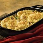 Broccoli Cheese Chicken and Stuffing - Herb stuffing is baked with chicken breasts and topped with a creamy sauce for this quick and easy main dish.