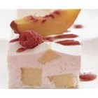 Frozen Peach Shortcake Squares - Pound cake cubes are blended into an ice cream mixture, frozen, and served with fresh peach slices and raspberries.