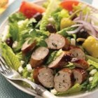Greek Salad with Spinach & Feta Chicken Sausage - Combine the flavors of the Mediterranean in this salad with feta cheese, kalamata olives, and al fresco Spinach & Feta Chicken Sausage.