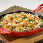 30 Minute Irish Skillet - A touch of bacon and a splash of apple juice enhance the savory flavors in this traditional beef, potato and cabbage dish. Enjoy this easy skillet dinner on nights when there's no time to cook.