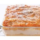 Mashed Potato Layer Bake - Satisfy your comfort food craving with this casserole of mashed sweet and white potatoes, layered with Cheddar and Parmesan cheese.