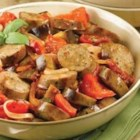 Sundried Tomato Chicken Sausage Ragu with Roasted Eggplant and Tomato - Sundried tomato chicken sausage adds extra flavor to this roasted vegetable dish.