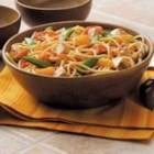 Asian Noodle Toss - Clara Coulston of Washington Court House, Ohio combines yesterday's chicken with mandarin oranges, crisp veggies and spaghetti for a colorful medley. TIP: For a change of pace Clara used citrus-flavored stir-fry sauce.