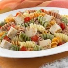 Chicken Ranch Pasta Salad - Toss chicken and pasta with colorful vegetables and creamy ranch dressing for this easy and satisfying main dish pasta salad.