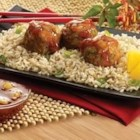 Polynesian Meatballs - Sweet and spicy meatballs... with whole-grain brown rice.
