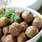 Southwestern Mini Turkey Meatballs - Bite-sized meatballs served with a spicy, creamy salsa dip. Makes enough for a party!