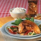Peach-Pepper Chicken - This delightful dish is pan-fried chicken pieces in an Asian-inspired peach sauce. Using SMUCKER'S(R)  Peach Preserves, makes this an easy weeknight dinner.