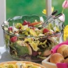 Blue Cheese Pear Salad - Rebecca Baird of Salt Lake City, Utah shares the recipe for this refreshing salad. The combination of greens, pears, raspberries, nuts and blue cheese topped with a zest mustard dressing is just delightful!