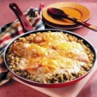 Chicken and Stuffing Skillet - The down-home flavors of tender chicken and Pepperidge Farm(R) Stuffing are paired with a perfect sauce made with Campbell's(R) Condensed Cream of Mushroom Soup and Cheddar cheese.
