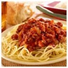 Mama's Easy Awesome Meat Sauce - Ground beef and onion are simmered with robustly flavored pasta sauce for a delicious, cooked-all-day flavor.