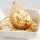 Baked Pears with Vanilla Yogurt and Granola - This dessert is a mix of great tastes and textures: baked pears drizzled with honey and topped off with crunchy granola, and cooled down on the yogurt. Made with nutrient-rich, low-fat yogurt, this dish does contain lactose, but the live and active cultures in yogurt help with digestion – making it a friendly option for those who are lactose intolerant.
