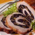 Stuffed Pork Loin with Wild Rice, Apricot and Walnut Stuffing