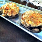 Stuffed Portobello Mushroom Caps - This stuffed mushroom cap recipe mixes two types of bread crumbs and two types of cheese with crab meat for a tasty topping to your portobellos.