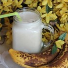 Banana Juice - Bananas, pistachios, and milk are blended together creating a frothy banana juice delight.