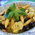 Exotic Salad - Mushrooms, black olives, artichoke hearts, hearts of palm and baby corn dressed in olive oil, lemon juice and garlic.  Use more or less parsley and basil, or any fresh herb, to taste.  Delicious!