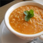 Turkish Red Lentil 'Bride' Soup - This traditional Turkish soup with red lentils, bulgur wheat, and dried mint is wonderful and easy to make.