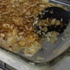 Almond Chicken Casserole I - Something of a chicken salad casserole, with rice, almonds, celery, and water chestnuts in a mayonnaise dressing. The almond and corn flake topping provides additional crunch. Bake ahead, as this freezes well.