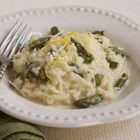 Springtime Asparagus Risotto - The cooking method for this risotto is not traditional, but even without constant stirring the result is excellent. The flavors of grated cheeses vary. Start with 1/3 cup, and then add more if desired. Serve risotto in 1-cup portions as a side dish or larger portions as a main dish. A pinot grigio or sauvignon blanc wine would make a lovely accompaniment.