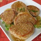 Sesame Sake Pork Medallions - Toasty sesame seeds and sake cooking wine is a perfect pair for versatile pork tenderloin.